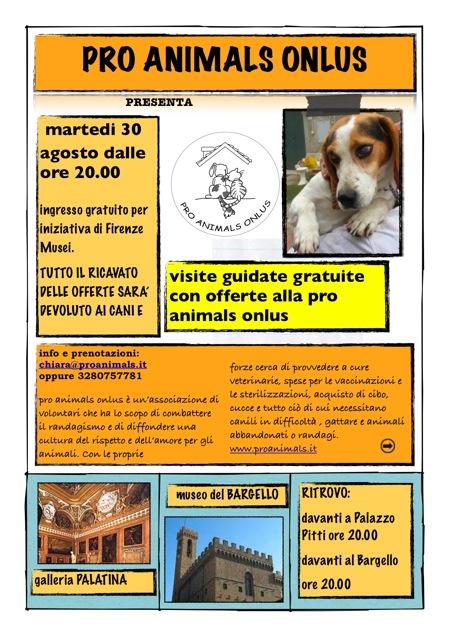 """Con Pro Animals i """"Martedì in Arte"""" di Firenze sono a favore di cani e gatti"""